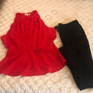 Scalloped red top Size XL